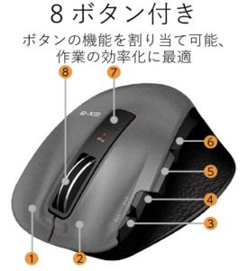多機能マウスのエレコムM-XGL20DLBKのボタン